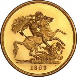 発行773枚のみ この値段で絶対買えない一枚 1893年 英国 ヴィクトリア オールドヘッド 5ポンドプルーフ金貨 PCGS PR61