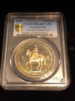 1953年 英国 エリザベス2世 V.I.P. クラウン銀貨 PCGS PR64DCAM