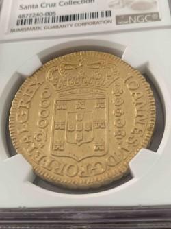 相場270万円〜 激レア 超大型金貨 1727年ブラジル 20000レイス NGC MS63