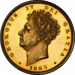 激レア 1825年 英国 ジョージ4世 プルーフソブリン金貨 Reeded Edge PCGS PR63DCAM