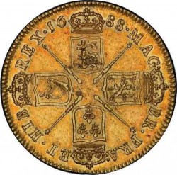1688年 英国 ジェームス2世5ギニー金貨 First Bust PCGS AU55