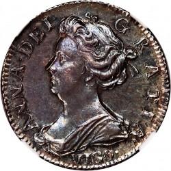 1703年 英国 アン女王VIGO 6ペンス NGC AU55