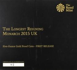 ゲリラ割引 国内相場500万円 2015年 英国 最高即位記念 5ozプルーフ金貨 NGC PF70UC