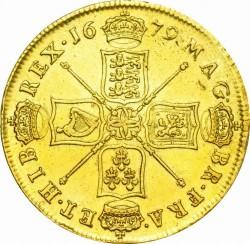 1679年 英国 チャールズ2世5ギニー金貨 GVF