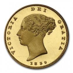 最高鑑定 存在数1枚 1839年 英国 ヴィクトリア女王 ハーフソブリンプルーフ金貨 PCGS PR65+DCAM