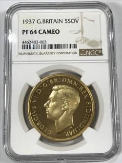 通常200万円前後 1937年 英国 ジョージ6世5ポンドプルーフ金貨 NGC PF64 CAMEO