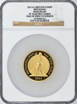 鋳造最初の25枚の一枚 2014年 英国 ブリタニア ハイリリーフプルーフ5オンス金貨 NGC PF70 Ultra Cameo