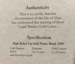 1990年 マン島 ペニーブラック1オンスハイリリーフ金貨 PCGS GEM Proof