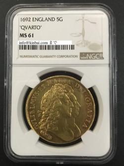 価格交渉歓迎!! 1692年 英国 ウィリアム&メアリー5ギニー金貨 NGC MS61