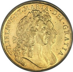 PCGS最高鑑定 1694年 英国 ウィリアム&メアリー5ギニー金貨 PCGS AU58