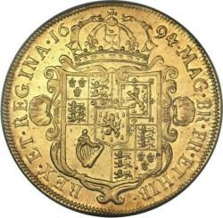 3月ピックアップ PCGS最高鑑定 1694年 英国 ウィリアム&メアリー5ギニー金貨 PCGS AU58