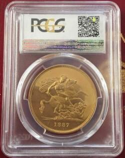 1887年イギリス ヴィクトリア女王 ジュビリー 5ポンドプルーフ金貨 PCGS PR60 DCAM