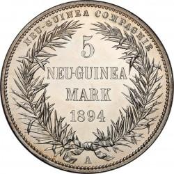 レア プルーフ 1894年 ニューギニー5マルク 極楽鳥 プルーフ銀貨 PCGS PR63
