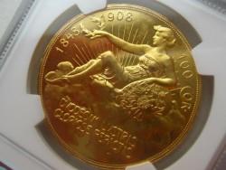 1908年 オーストリア 100コロナ金貨 雲上の女神 NGC PF62