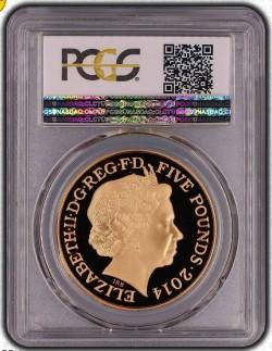 2014年アン女王300周年記念5ポンドプルーフ金貨 PCGS PR70DCAM