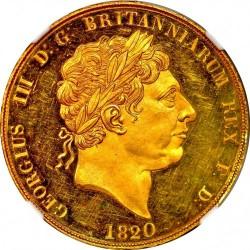 1820年英国ジョージ3世 W&R 179 パターン2ポンドプルーフ金貨 NGC PF63UC
