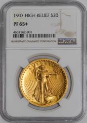 1907年 米国 セントゴーデンズ ハイリリーフ金貨 NGC PF65+
