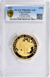 シリアル1番 2018年 英国 ブリタニア5オンスプルーフ金貨 PCGS PR69DCAM