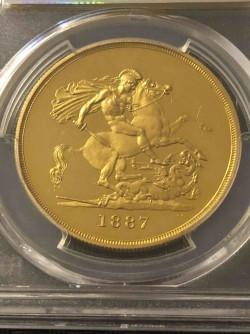 1887年イギリス ヴィクトリア女王 ジュビリー 5ポンドプルーフ金貨 PCGS PR63DCAM