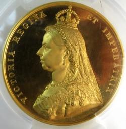 PCGS最高鑑定 大型メダルでウルトラカメオ!!1887年ヴィクトリア・ゴールデンジュビリーの大型ゴールドメダル PCGS SP63