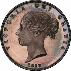 過去10年で市場に出たのは6回未満 1853年 英国 ヤング・ヴィクトリア ハーフクラウン銀貨 PCGS PR64 CAMEO