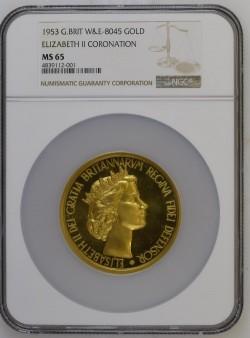 鑑定品これのみ! 1953年 英国 エリザベス2世 即位記念 ゴールドメダル NGC MS65