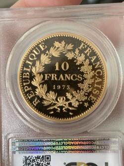 最短翌日お届け 1973年 フランス 10フラン ピエフォー プルーフ金貨 PCGS SP66
