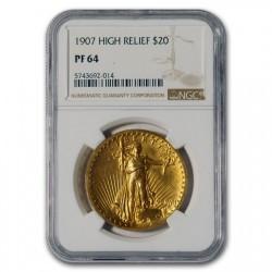 700万円を切りました。1907年 米国 セントゴーデンズ ハイリリーフ金貨 NGC PF64