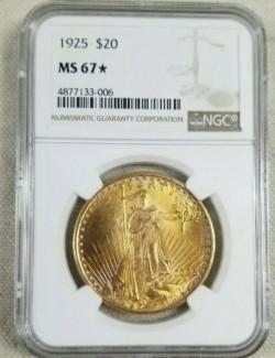 55910枚のトップでオンリーワン 1925年 アメリカ セントゴーデンズ金貨 NGC MS67★