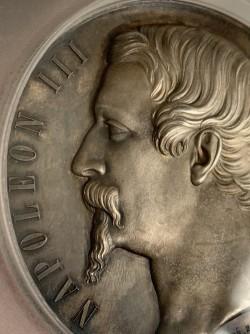 最高鑑定 1852年 フランス ナポレオン3世 国債 超大型シルバーメダル PCGS SP63