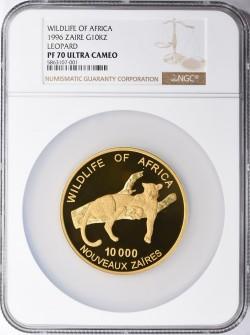 最高鑑定 PF70UCは1枚のみ 1996年 ザイール ヒョウ 5オンスプルーフ金貨 NGC PF70UC