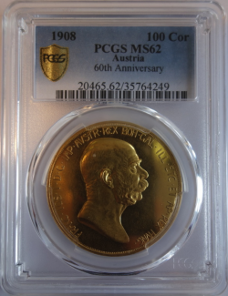 1908年 オーストリア 100コロナ金貨 雲上の女神 PCGS MS62