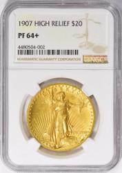 1907年 米国 セントゴーデンズ ハイリリーフ金貨 NGC PF64+