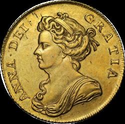 1709年 英国 アン女王 2ギニー金貨 NGC AU58