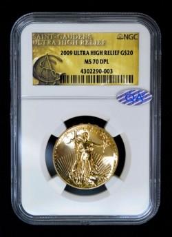 2009年 米国 ウルトラハイリリーフ金貨 NGC MS70 DPL QA