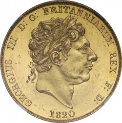鋳造わずか60枚 1820年 英国 ジョージ3世 Pattern(試作貨・試鋳貨)2ポンドプルーフ金貨 NGC PF60 Ultra Cameo