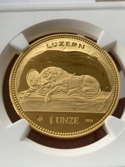 発行わずか54枚 1988年 スイス 嘆きのライオン 1オンスプルーフ金貨 NGC PF69UC