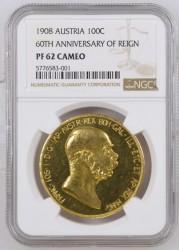 1908年 オーストリア 100コロナ金貨 雲上の女神 NGC PF62 CAMEO