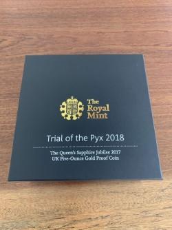 The Trial of the Pyx(トライアル・ピックス) 2017年 英国 サファイアジュビリー5オンスプルーフ金貨