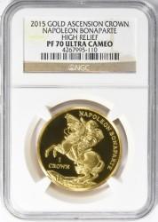 最終価格 アセンション島 2015年 ナポレオン撃滅200周年 ハイレリーフ クラウン金貨 NGC PF70 Ultra Cameo