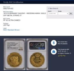 試鋳貨 最高鑑定 UC単独1枚 1872年 ドイツ ヨハン王金婚式記念 2ターラー金貨(金打ち Gold Off Metal)48.70グラム NGC PF63 Ultra Cameo