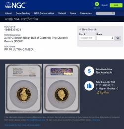 希少 2018年 英国 クイーンズビースト ブル 5オンス金貨 NGC PF70UC