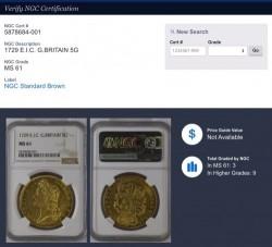 1729年 イギリス ジョージ二世 東インド会社 5ギニー金貨 NGC MS61