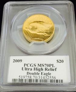 2009年 米国 ウルトラハイリリーフ金貨 PCGS MS70PL Moy氏サイン