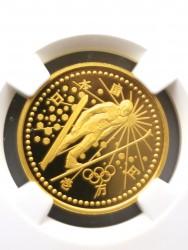 最高鑑定1枚のみ 1998年 日本長野 スキージャンプ オリンピック記念プルーフ金貨 NGC PF70UC