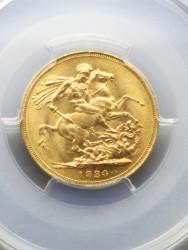 1880年 英国 ヴィクトリア 1ソブリンヤングヘッド金貨 PCGS MS62