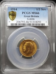 1914年 英国 ジョージ5世 1/2ソブリン金貨 PCGS MS66