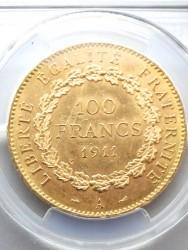 1911年A フランス 100フラン エンジェル金貨 PCGS MS63