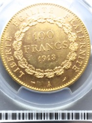 1913年 フランス 100フラン エンジェル金貨 PCGS MS62