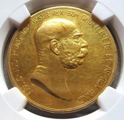 1908年オーストリア100コロナ雲上の女神金貨 NGC AU55